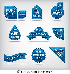 água, etiquetas, puro