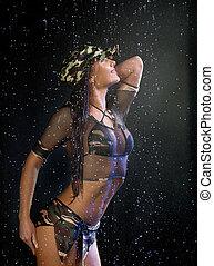 água, excitado, mulher, estúdio