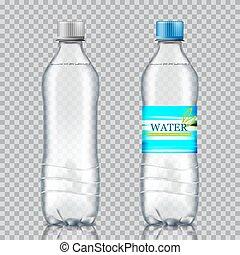 água, experiência., garrafas, dois, transparente