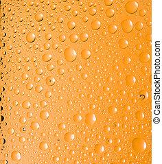 água, experiência., gotas, amarela