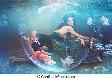 água, fantasia, mulher, seabed, sob