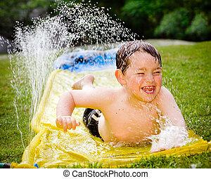 água, feliz, criança, escorregar