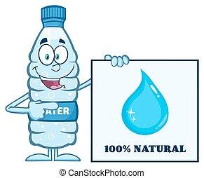 água, feliz, garrafa, plástico