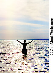água, feliz, homem