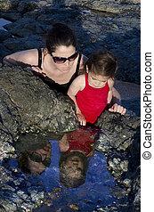 água, filha, reflexão, mãe