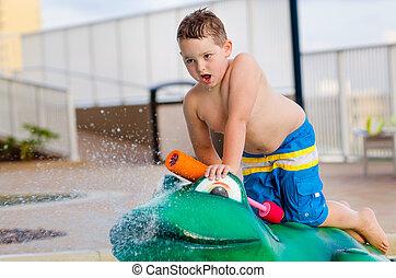 água, filho jogando, brinquedo