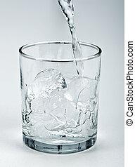 água, fluir, cima, gelo, em, vidro