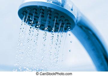água, fluir, de, metal, chuveiro
