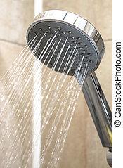 água, fluxos, de, a, chuveiro