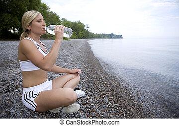 água, fresco, bebendo