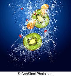 água, frutas, experiência azul, ao redor, gotas