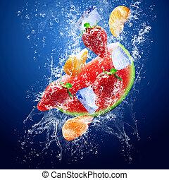 água, frutas, gotas, ao redor, sob