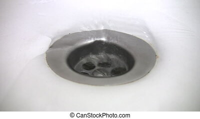água, funil, início, em, banho