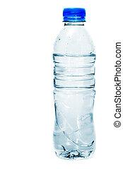 água, garrafa plástico, ligado, um, fundo branco