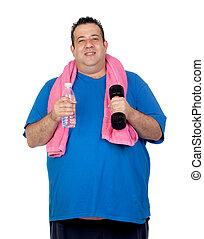 água, ginásio, garrafa, homem gordo