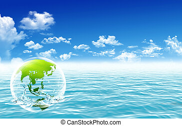 água, globo, acima