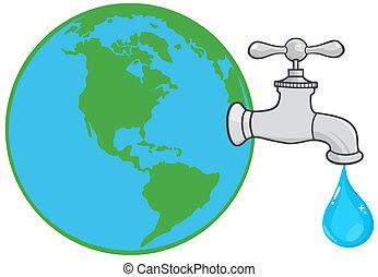 água, globo, torneira, terra