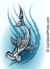 água, hammerhead, através, tubarão, natação