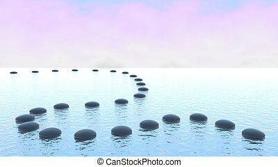 água, harmony., seixo, caminho