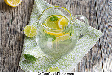 água, hortelã, limão