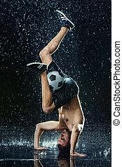água, jogador, gotas, ao redor, futebol