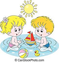água, jogar crianças