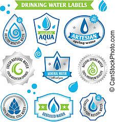 água, jogo, gotas, etiqueta