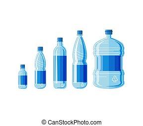 água, jogo, isolado, garrafa, plástico