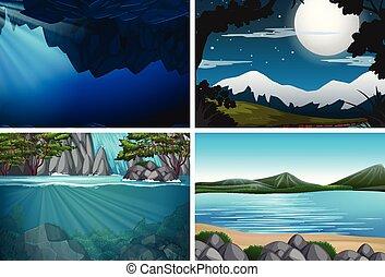 água, jogo, paisagem, natureza