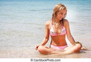 água, jovem, dela, mulher, carangueijo, bonito, joelho