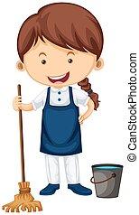 água, limpador, vassoura, balde, femininas