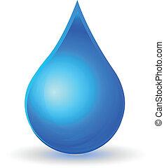 água, logotipo, gota, isolado, vetorial