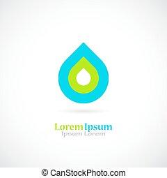 água, logotipo, gota, vetorial