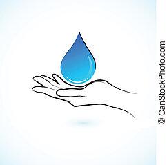 água, logotipo, mãos, ícone, cuidado
