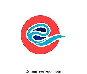 água, logotipo, onda, ícone