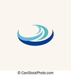 água, logotipo, onda, ícone, elemento