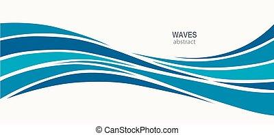 água, logotipo, projeto abstrato, onda