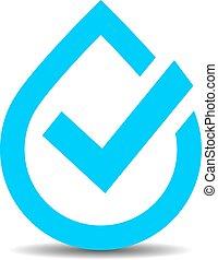 água, logotipo, vetorial