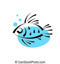 água, loja, logotype, peixe, marisco, icon., template., ...