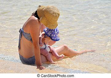 água, mãe, bebê, criança, piscina, dela