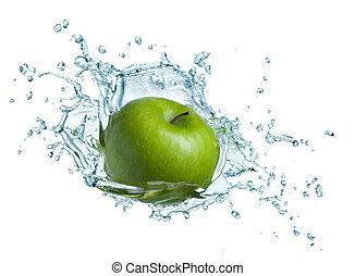 água, maçã verde