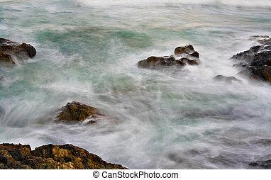 água, macio, pedras