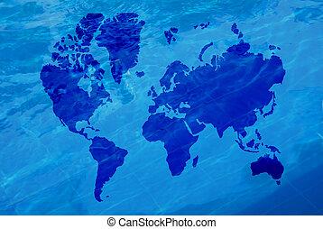 água, mapa, mundo