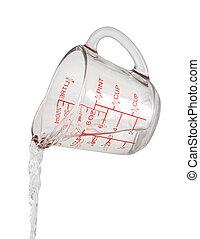 água, medindo, despeje, copo