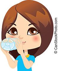água, menina, bebendo