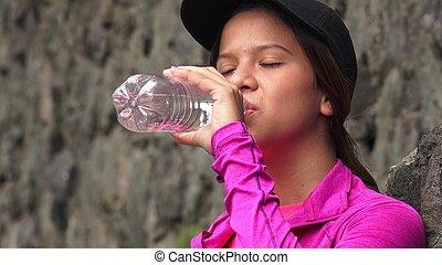 água, menina, bottled, bebendo, sedento
