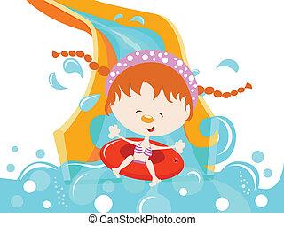 água, menina, desfrutando, escorregar