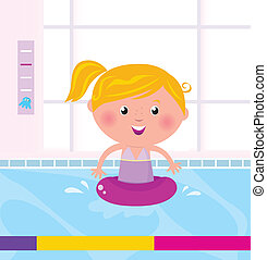 água, menina, /, feliz, natação, cute, piscina
