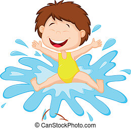 água, menina, pular, caricatura