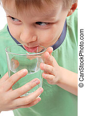 água, menino, bebendo